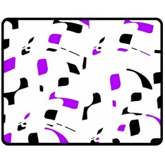 Purple, Black And White Pattern Double Sided Fleece Blanket (medium)  by Valentinaart