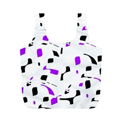 Purple, Black And White Pattern Full Print Recycle Bags (m)  by Valentinaart