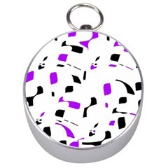 Purple, Black And White Pattern Silver Compasses by Valentinaart
