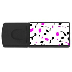 Magenta, Black And White Pattern Usb Flash Drive Rectangular (4 Gb)  by Valentinaart