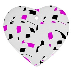 Magenta, Black And White Pattern Heart Ornament (2 Sides) by Valentinaart