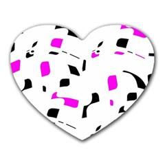 Magenta, Black And White Pattern Heart Mousepads by Valentinaart