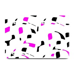 Magenta, Black And White Pattern Plate Mats by Valentinaart