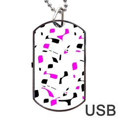 Magenta, Black And White Pattern Dog Tag Usb Flash (one Side) by Valentinaart