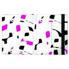 Magenta, Black And White Pattern Apple Ipad 2 Flip Case by Valentinaart