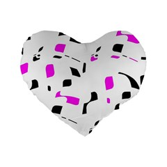 Magenta, Black And White Pattern Standard 16  Premium Heart Shape Cushions by Valentinaart