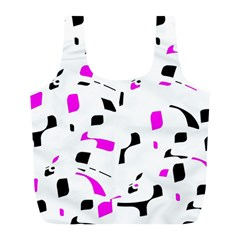 Magenta, Black And White Pattern Full Print Recycle Bags (l)  by Valentinaart
