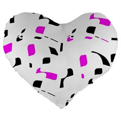 Magenta, Black And White Pattern Large 19  Premium Flano Heart Shape Cushions by Valentinaart