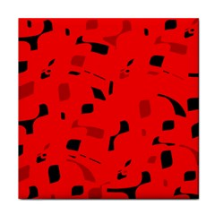 Red and black pattern Tile Coasters by Valentinaart