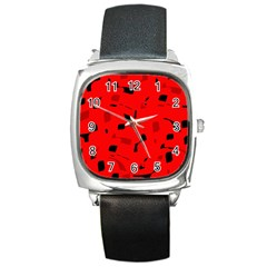 Red And Black Pattern Square Metal Watch by Valentinaart