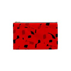 Red And Black Pattern Cosmetic Bag (small)  by Valentinaart