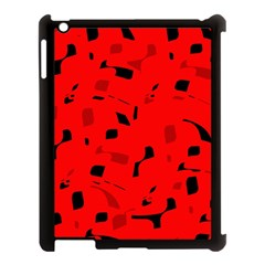 Red And Black Pattern Apple Ipad 3/4 Case (black) by Valentinaart