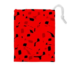 Red And Black Pattern Drawstring Pouches (extra Large) by Valentinaart