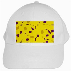 Yellow And Purple Pattern White Cap by Valentinaart