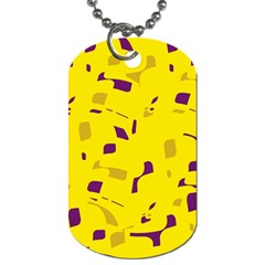 Yellow And Purple Pattern Dog Tag (two Sides) by Valentinaart