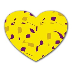 Yellow And Purple Pattern Heart Mousepads by Valentinaart