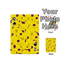 Yellow And Purple Pattern Playing Cards 54 (mini)  by Valentinaart
