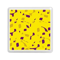 Yellow And Purple Pattern Memory Card Reader (square)  by Valentinaart