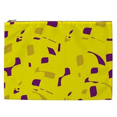 Yellow And Purple Pattern Cosmetic Bag (xxl)  by Valentinaart