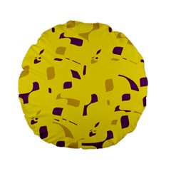 Yellow And Purple Pattern Standard 15  Premium Flano Round Cushions by Valentinaart