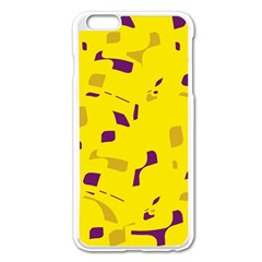 Yellow And Purple Pattern Apple Iphone 6 Plus/6s Plus Enamel White Case by Valentinaart