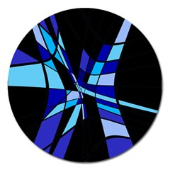 Blue Abstart Design Magnet 5  (round) by Valentinaart