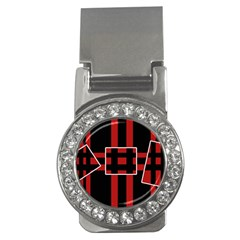 Red And Black Geometric Pattern Money Clips (cz)  by Valentinaart