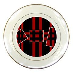 Red and black geometric pattern Porcelain Plates by Valentinaart