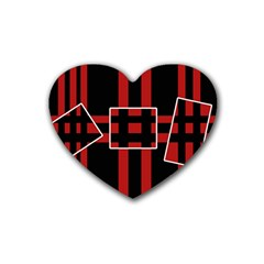 Red And Black Geometric Pattern Heart Coaster (4 Pack)  by Valentinaart