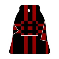 Red And Black Geometric Pattern Bell Ornament (2 Sides) by Valentinaart