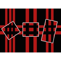 Red And Black Geometric Pattern Birthday Cake 3d Greeting Card (7x5) by Valentinaart