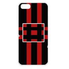 Red and black geometric pattern Apple iPhone 5 Seamless Case (White)