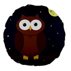 Cute Owl Large 18  Premium Flano Round Cushions by Valentinaart