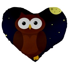 Cute Owl Large 19  Premium Flano Heart Shape Cushions by Valentinaart