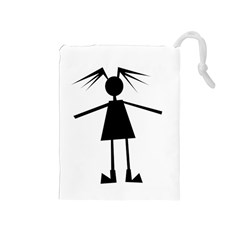Teenage Girl Drawstring Pouches (medium)  by Valentinaart