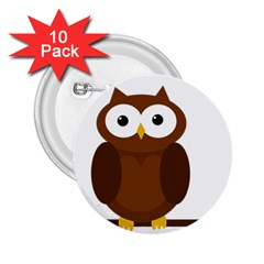 Cute transparent brown owl 2.25  Buttons (10 pack)  by Valentinaart
