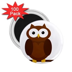 Cute Transparent Brown Owl 2 25  Magnets (100 Pack)  by Valentinaart