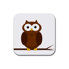 Cute Transparent Brown Owl Rubber Coaster (square)  by Valentinaart