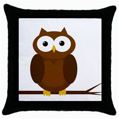 Cute Transparent Brown Owl Throw Pillow Case (black) by Valentinaart