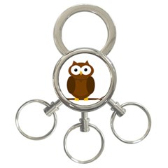 Cute Transparent Brown Owl 3 Ring Key Chains by Valentinaart