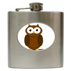 Cute Transparent Brown Owl Hip Flask (6 Oz) by Valentinaart