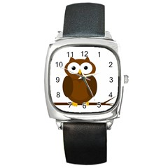 Cute Transparent Brown Owl Square Metal Watch by Valentinaart