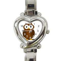Cute Transparent Brown Owl Heart Italian Charm Watch by Valentinaart