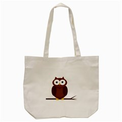 Cute Transparent Brown Owl Tote Bag (cream) by Valentinaart