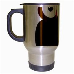 Cute Transparent Brown Owl Travel Mug (silver Gray) by Valentinaart