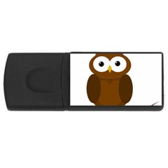 Cute Transparent Brown Owl Usb Flash Drive Rectangular (4 Gb)  by Valentinaart