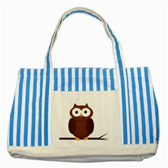 Cute Transparent Brown Owl Striped Blue Tote Bag by Valentinaart