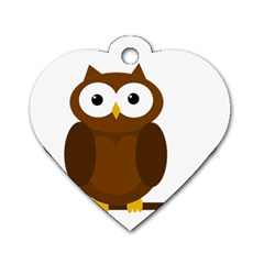 Cute Transparent Brown Owl Dog Tag Heart (one Side) by Valentinaart