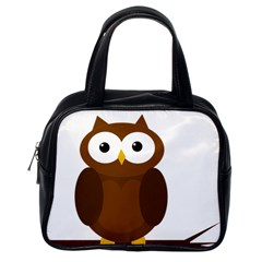 Cute Transparent Brown Owl Classic Handbags (one Side) by Valentinaart