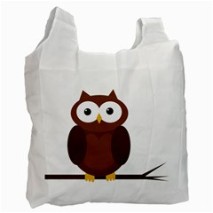 Cute Transparent Brown Owl Recycle Bag (one Side) by Valentinaart